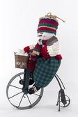 Bonhomme de neige à vélo — Photo
