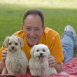 Stock Photo: MWith His Dogs