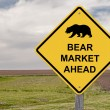 Caution Sign - Bear Market Ahead - Stock Photo