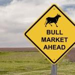 Caution Sign - Bull Market Ahead — Stock Photo #14553201