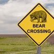 Caution Sign - Bear Crossing — Stock Photo