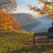 Man Enjoying An Early Morning Sunrise At Letchworth State Park — Stock Photo