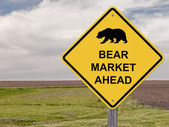 Caution Sign - Bear Market Ahead — Stock Photo