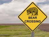 Caution Sign - Bear Crossing — Stock Photo