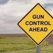 Caution - Gun Control Ahead - Stock Photo
