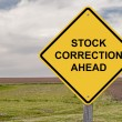 Stock Correction Ahead - Caution Sign — Stock Photo