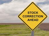 Stock Correction Ahead - Caution Sign — Stock Photo