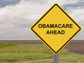ObamaCare Ahead - Caution Sign — Stock Photo