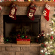 Christmas Tree And Fireplace With Christmas Stockings — Stock Photo #28639509