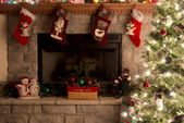 Christmas Tree And Fireplace With Christmas Stockings — Stock Photo