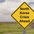 Caution Sign - North Korea Crisis Ahead — Stock Photo