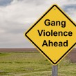 Caution Sign - Gang Violence Ahead — Stock Photo