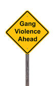 Caution Sign On White - Gang Violence Ahead — Zdjęcie stockowe