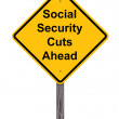 Caution Sign - Social Security Cuts Ahead — Stock Photo #32895465