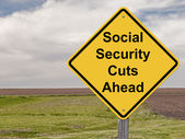 Caution Sign - Social Security Cuts Ahead — Stock Photo