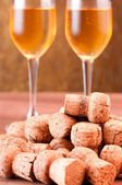 Pile of champagne corks — Stock Photo