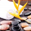 Zen stones on wooded table outdoor — Stock Photo #12820736
