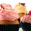 Strawberry cupcake  close up — Stock Photo