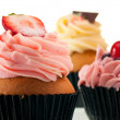 Strawberry cupcake  close up - Stock Photo