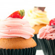 Strawberry cupcake extreme close up — Stock Photo