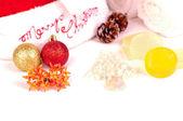 Concepto de spa de vacaciones de navidad cerrar con decoraciones — Foto de Stock