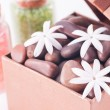 Wellness gift in a box with bath salts and flowers close up — Stock Photo