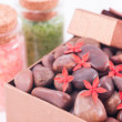 Red zen stones in a bronze gift box with red flowers and bath salts — Stock Photo