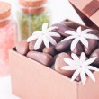 Wellness gift in a bronze box with bath salts close up — Stock Photo #20177601