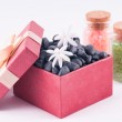 Wellness red gift box with white Jasmine flowers and bath salts — Stock Photo #21581683