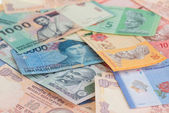 Asian currencies close up of India, Indonesia and Malaysia — Stock Photo