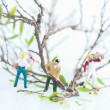 Miniature workmen working together in pruning and cutting trees — Lizenzfreies Foto