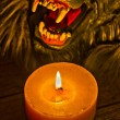 Stock Photo: Candlelight illuminated werewolf face close-up Hdr effect