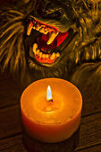 Candlelight illuminated the werewolf face close-up Hdr effect — Stok fotoğraf