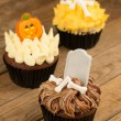 Three variation of Halloween cupcakes close-up — Stock Photo