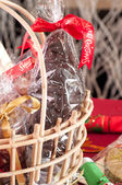 Chocolate Santa in a gift basket close up — Stock Photo