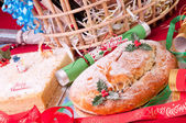 Christmas stollen and coconut cake close up — Stock Photo