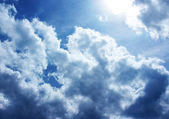 Blue sky with white clouds and sunrises — Stock Photo