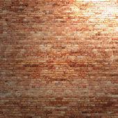 červená cihlová zeď textury pozadí s paprsek světla v rohu interiéru — Stock fotografie