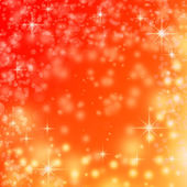Red christmas background and abstract snow flakes and stars — Stock Photo