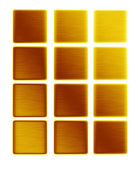 Gold metal textures background collection push buttons bars of gold — Stock Photo
