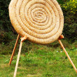 Straw archery target practice outdoor background to use in graphic project as competition concept - Stock Photo