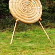 Straw circle archery target with wooden arrows in it as conpetition concept - Stock Photo