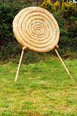 Halm cirkel bågskytte mål med trä pilar i det som conpetition begrepp — Stockfoto