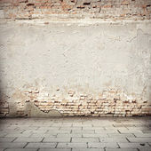 Grunge background, red brick wall texture bright plaster wall and blocks road sidewalk abandoned exterior urban background for your concept or project — Stock fotografie