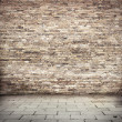Grunge background, red brick wall texture bright plaster wall and blocks road sidewalk abandoned exterior urban background for your concept or project — Stock Photo #23497677