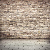 Grunge background, red brick wall texture bright plaster wall and blocks road sidewalk abandoned exterior urban background for your concept or project — Stock Photo