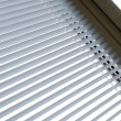 White shutter shades window striped background to interior design — Photo