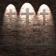 Crosses on the red brick wall texture background and highlights, christian symbol — Stock Photo