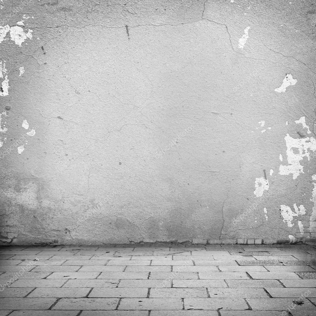 Grunge background white wall texture and blocks road for Exterior background