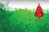 Boże narodzenie streszczenie ziemi czerwony drzewko — Wektor stockowy